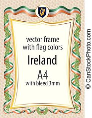 Frame and border with the coat of arms and ribbon with the colors of the Ireland flag