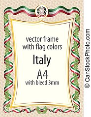 Frame and border with the coat of arms and ribbon with the colors of the Italy flag