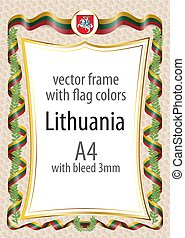 Frame and border  with the coat of arms and ribbon with the colors of the Lithuania flag
