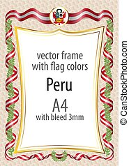 Frame and border with the coat of arms and ribbon with the colors of the Peru flag