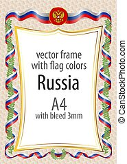Frame and border with the coat of arms and ribbon with the colors of the Russia flag