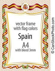 Frame and border with the coat of arms and ribbon with the colors of the Spain flag
