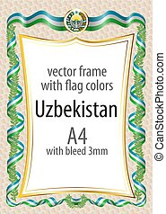 Frame and border with the coat of arms and ribbon with the colors of the Uzbekistan flag