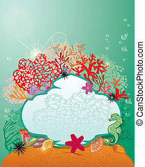 Frame and Coral Reef and Marine life - Underwater background.