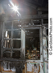 Frame and door of a burnt house