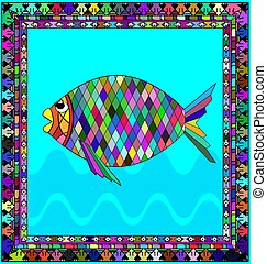 frame and fish - abstract colored background image of fish...