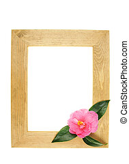 Frame and flower - Wooden picture frame with camellia flower...