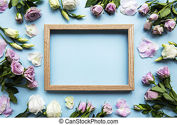 Frame and pink flowers