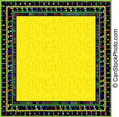 frame and yellow square - abstract colored background image...