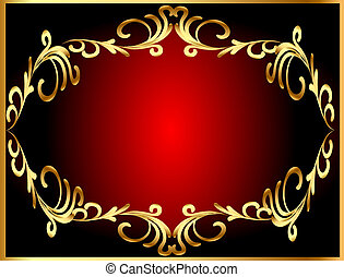 frame background with gold(en) winding pattern