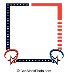 Frame background with red stripes and stars of the US flag