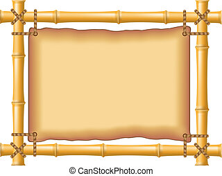 frame bamboo and old parchment - frame made of bamboo and ...