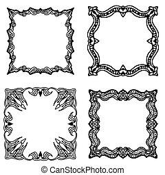 frame, black , of, verzameling, etiket