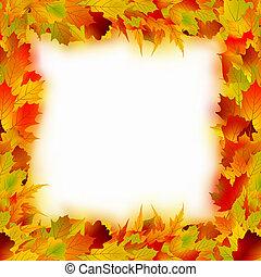 frame., bladeren, eps, veelkleurig, 8, esdoorn