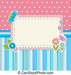 frame, bloemen, vlinder