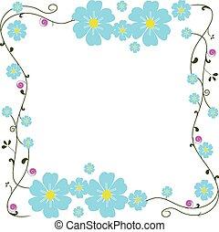 frame blue flower vector