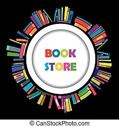 frame, boekjes , boekhandel, ronde, kleurrijke