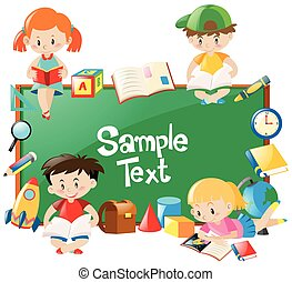 frame, boekjes , ontwerp, lezende , kinderen