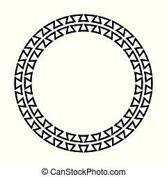frame., border., grek, wektor, klucz, okrągły