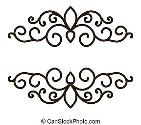 frame border with black curls on a white
