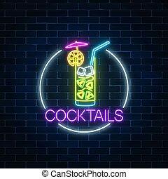 frame., cóctel, banner., símbolo, letrero de gas de neón, ...
