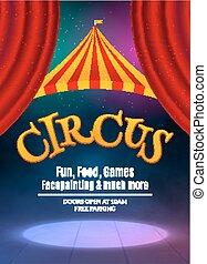 frame., carnaval, montrer affiche, cirque, illustration, signe, invitation., vecteur, gabarit, lumière, fête