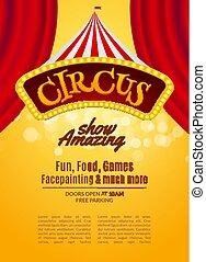 frame., carnevale, mostrare manifesto, circo, illustrazione, segno, invitation., vettore, sagoma, luce, festivo