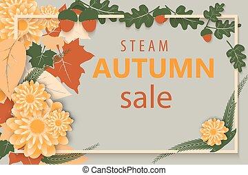 frame., cartaz, cartão, lettering., leaves., venda, outono, luminoso, voador, etiqueta, modelo, outono, retangular, bandeira, design.