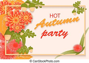 frame., cartaz, folhas, outono, luxo, modelo, partido, flores, lettering, design.