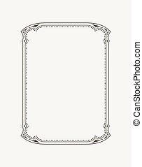 frame., certificaat, postkaart, ouderwetse , calligraphic, uitnodiging, vector, black , diploma, grens, witte