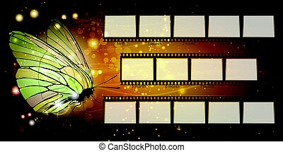 Frame. Child. Butterfly on a gold background