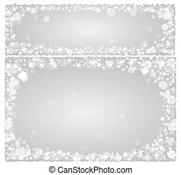 Frame christmas card on a silver background with stars