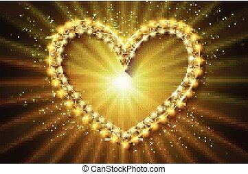 Frame cinema heart. Gold version.