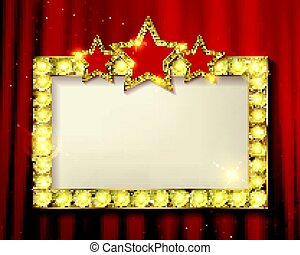 Frame cinema stars. On the background of a red curtain....