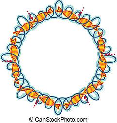 Frame circle waves and fish