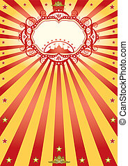 frame circus poster - A new circus poster with sunbeams.