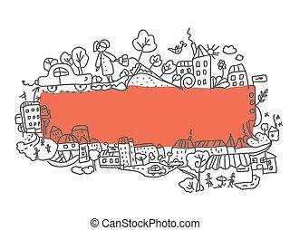 Frame city doodle design funny cartoon