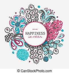 frame., colorito, fiore, mano, fondo, floreale, disegnato, fiori, circle., rotondo, intorno