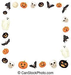 frame, communie, halloween, witte