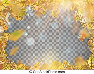Frame composed of colorful autumn leaves. EPS 10 vector