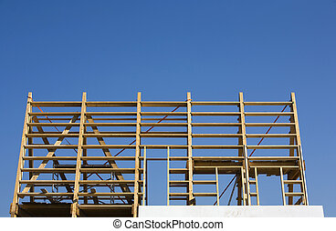 Frame construction of a modern house in Almere, the...