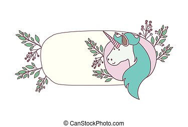 frame decorative with unicorn and flowers