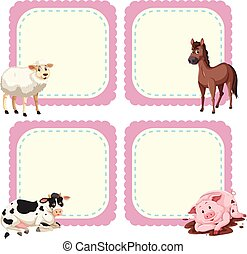 Frame design template with farm animals