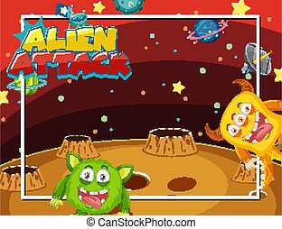 Frame design with aliens in space background