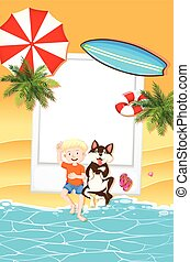 Frame design with boy and dog on beach