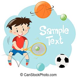 Frame design with boy playing sports