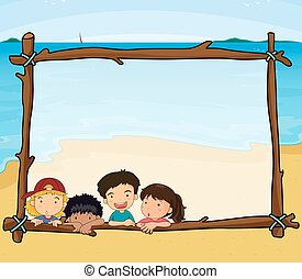 Frame design with children on the beach