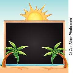 Frame design with coconut trees on beach