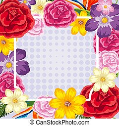 Frame design with colorful flowers