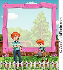 Frame design with father and son in the garden